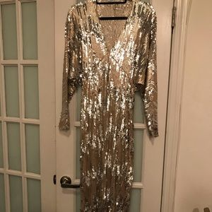 Zara Sequin Gown with Bat Wing Sleeves